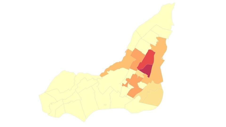 Carte avec des variations de couleurs pour montrer le nombre de personnes.