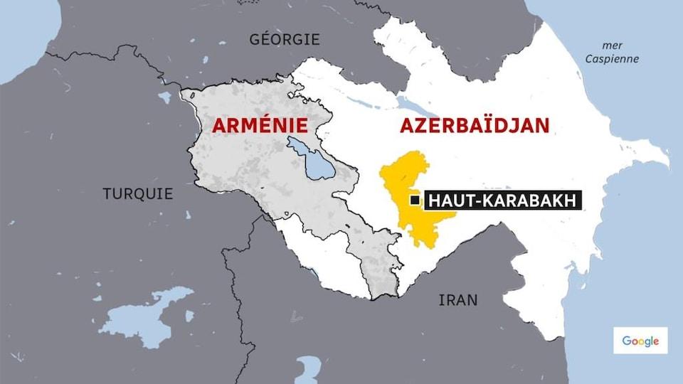 Une carte du Caucase mettant en évidence le Haut-Karabakh.