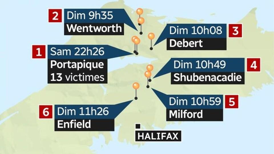 Une carte de la Nouvelle-Écosse montrant le parcours du présumé responsable de la tuerie de Portapique.