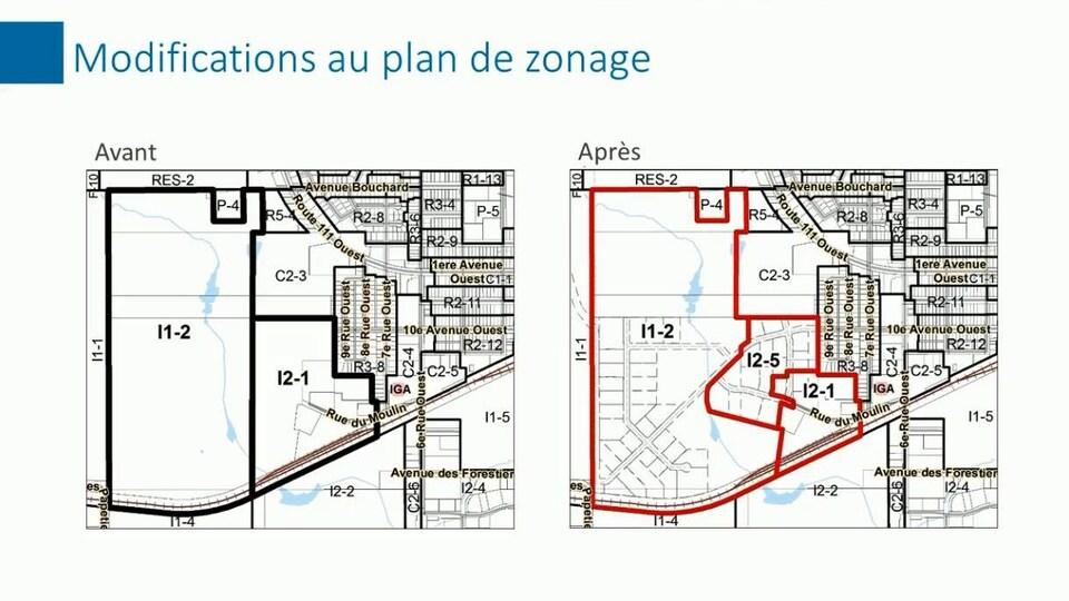 Une carte montre la zone industrielle avant et après le changement de zonage.