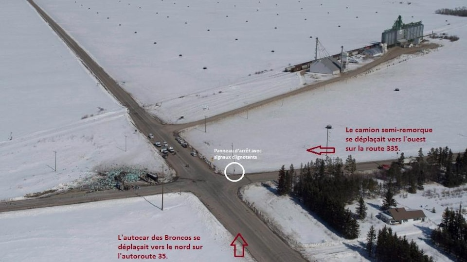 Une carte décrivant le chemin emprunté par les deux véhicules avant la collision mortelle.