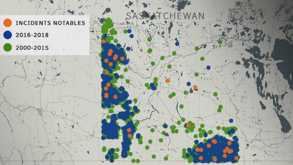 Une carte où l'on peut voir des points de couleurs qui représentent les déversements survenus entre 2000 et 2018.