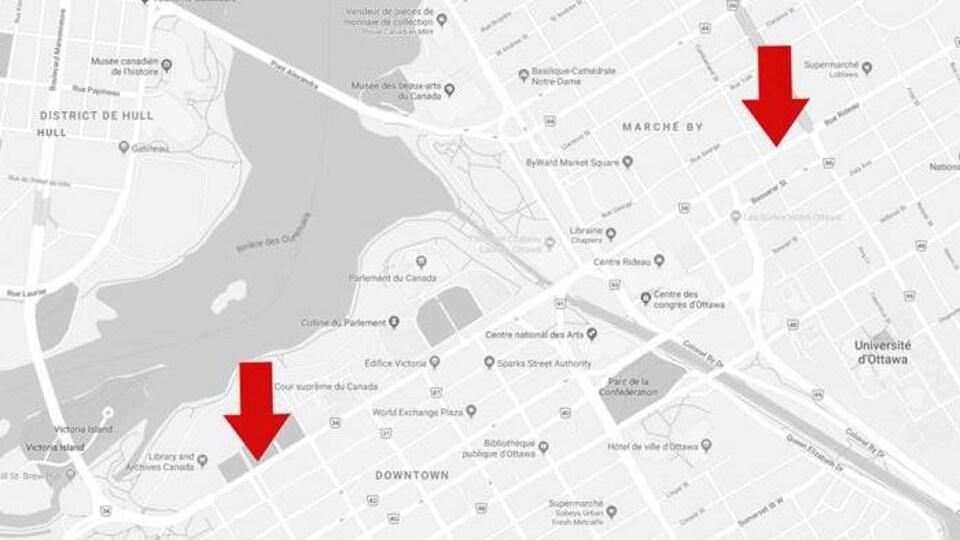 Une carte avec des flèches qui indiquent les deux seuls arrêts desservis par la STO, mardi.