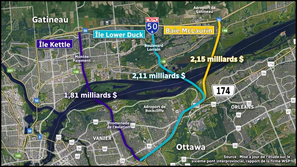 Carte satellite d'Ottawa et de Gatineau avec en surbrillance trois tracés potentiels pour un pont reliant le Québec et l'Ontario.