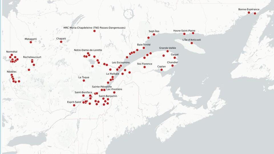 Carte des municipalités sans réseau d'égout