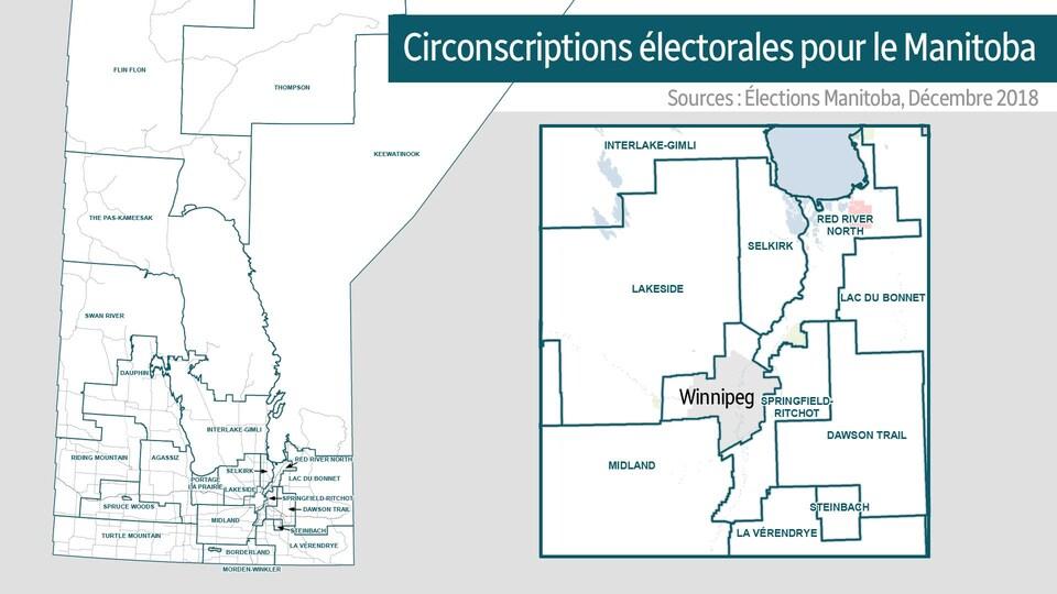 La nouvelle carte éléctorale du Manitoba.