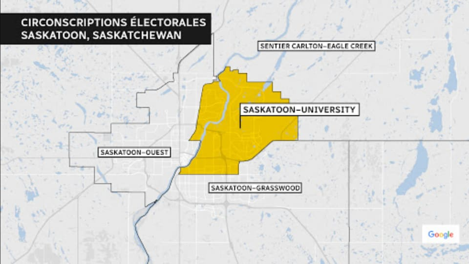 Carte électorale de la circonscription fédérale Saskatoon-University.