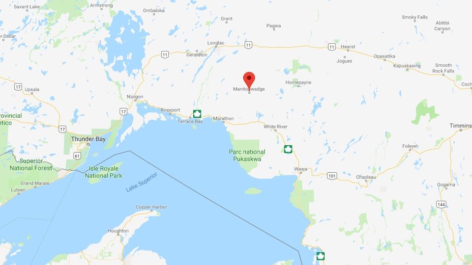 Une carte d'une partie de Nord de l'Ontario, centrée sur Manitouwadge.