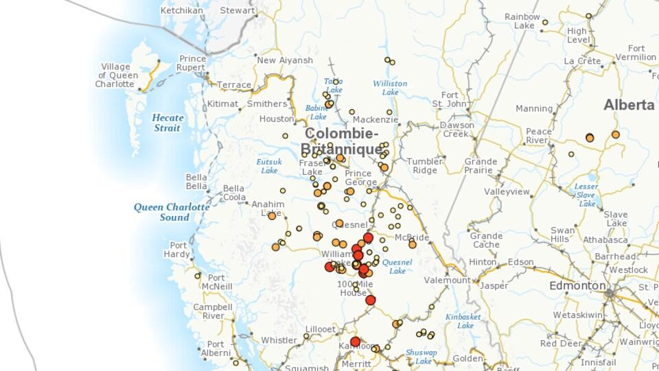 Carte des feux actifs actuels en Colombie-Britannique