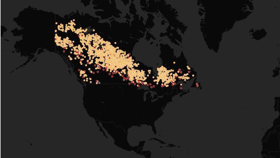 Carte des feux de plus de 10 000 hectares depuis 1980.