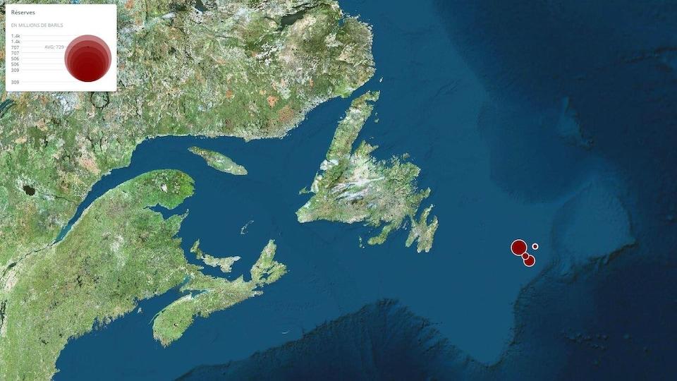 Carte montrant les gisements dans l'océan.