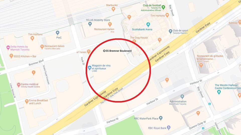Une carte montrant des rues.