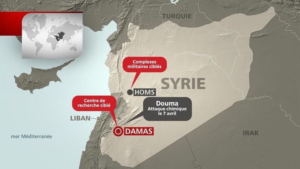 Carte des frappes aériennes lancées contre la Syrie.