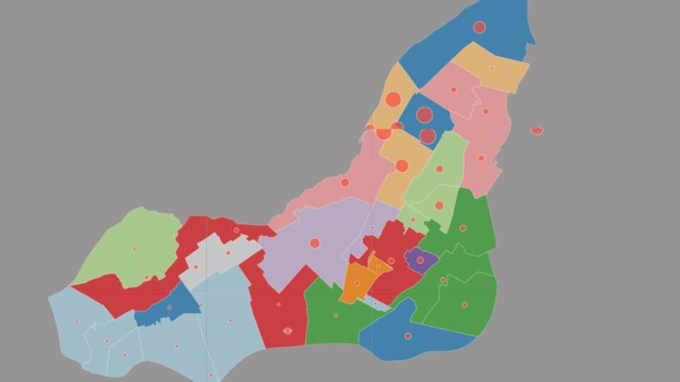 Carte montrant avec des couleurs les différentes communautés immigrantes à Montréal.