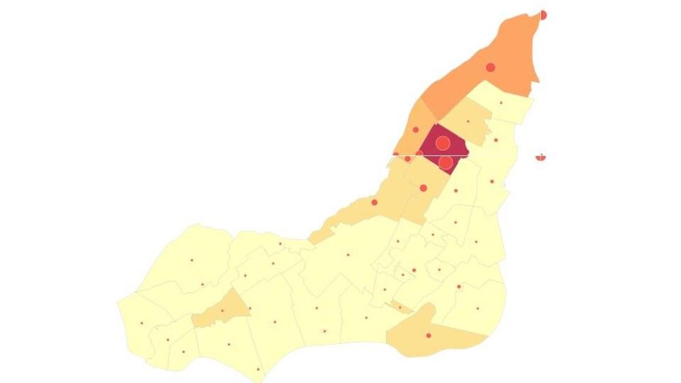 Carte montrant où vivent les Italo-Montréalais.