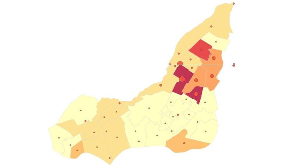 Carte montrant où vivent les Montréalais nés au Portugal.