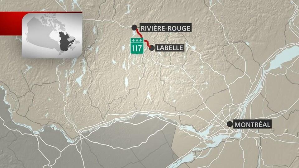Carte montrant le tronçon de la 117 entre Labelle et Rivière-Rouge