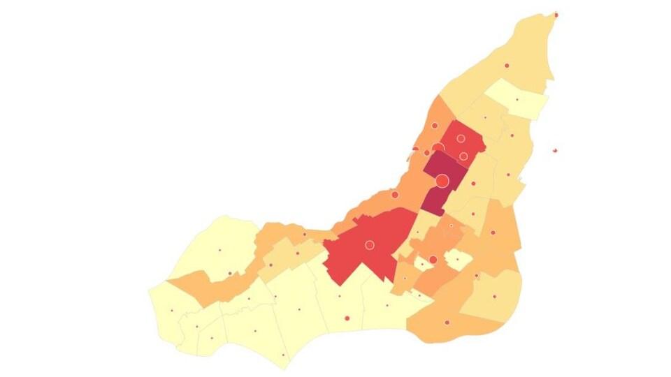 Carte montrant où vivent les personnes ne parlant ni le français, ni l'anglais à Montréal