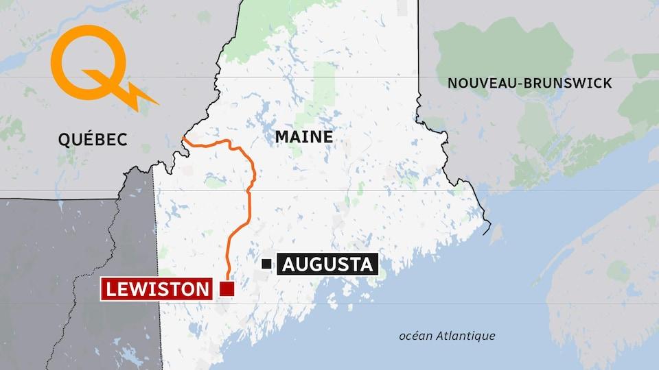 Carte montrant un tracé allant de la frontière du Québec à Lewiston, au Maine.