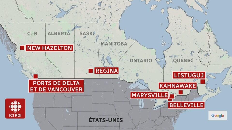 Carte des lieux de manifestation au Canada.