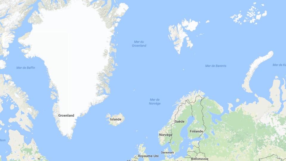 Mers de Barents et du Groenland où l'on retrouve des débris