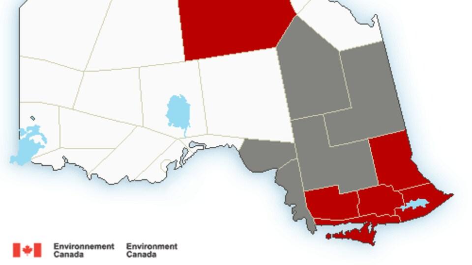 Une carte du Nord de l'Ontario.