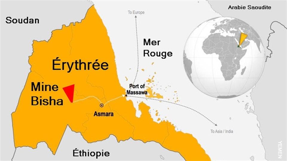 Une carte de l'Érythrée, avec la mine Bisha, située dans l'ouest du pays.
