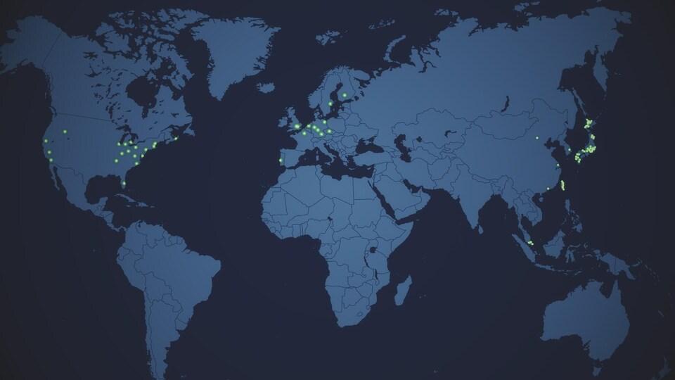 Carte du monde montrant les lieux où on retrouve des fermes verticales.
