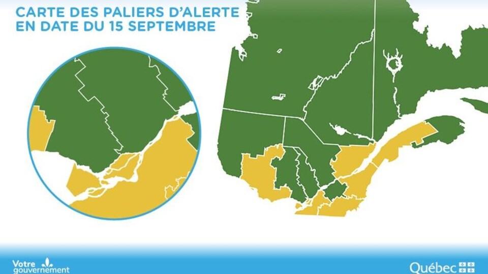 Carte du Québec en vert avec certaines régions en jaune, dont le Bas-Saint-Laurent.