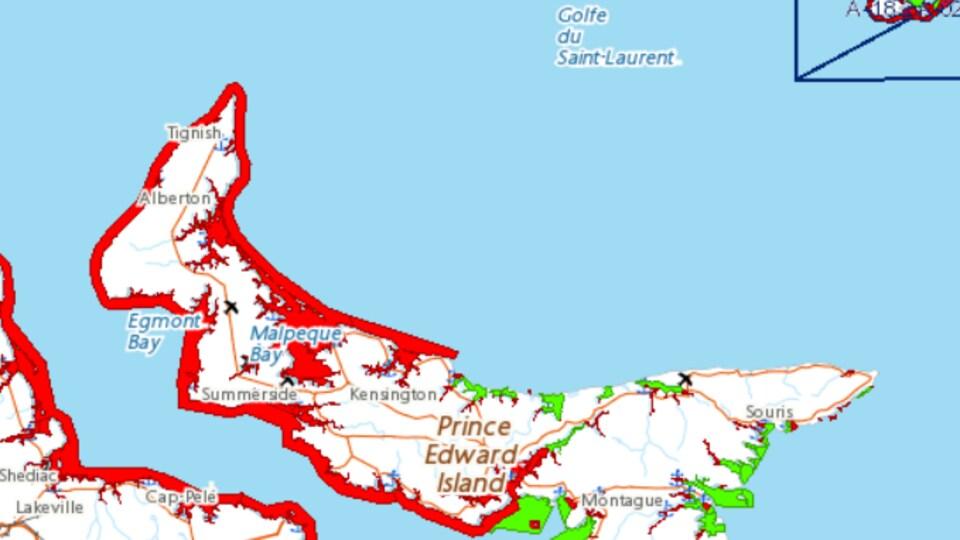 Une carte qui montre les zones fermées à la pêche aux mollusques à l'Île-du-Prince-Édouard.