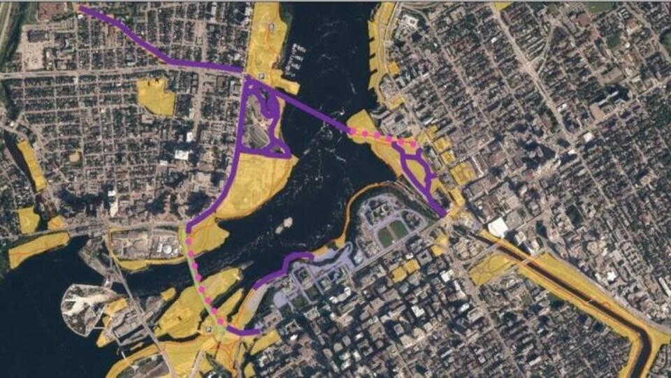 Une carte des pistes cyclables qui seront déneigées par la CCN dès 2020.