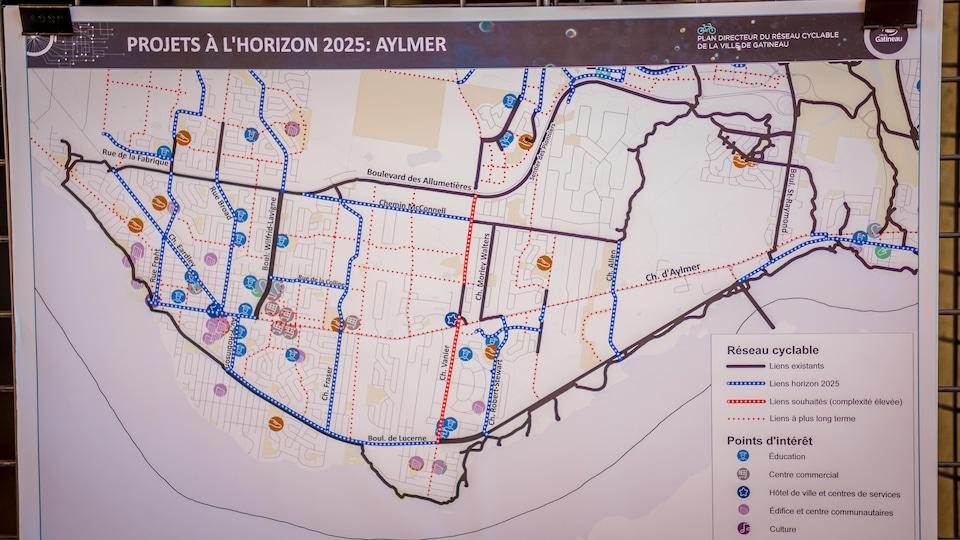 Une carte des pistes cyclables projetées dans le secteur d'Aylmer.