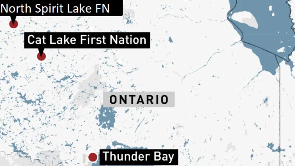Une carte du Grand Nord de l'Ontario.