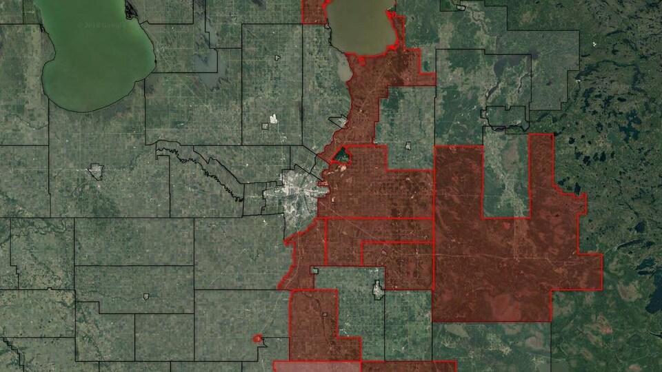 Une carte du sud-est du Manitoba.