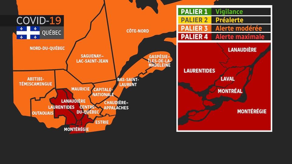 Une carte du Québec montre les régions de Montréal, de Laval, de Lanaudière, des Laurentides et de la Montérégie en rouge et les autres régions en orange.