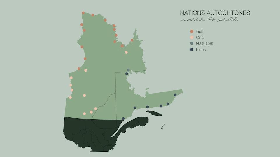 La carte du Québec montre la délimitation du 49e parallèle ainsi que les communautés autochtones.
