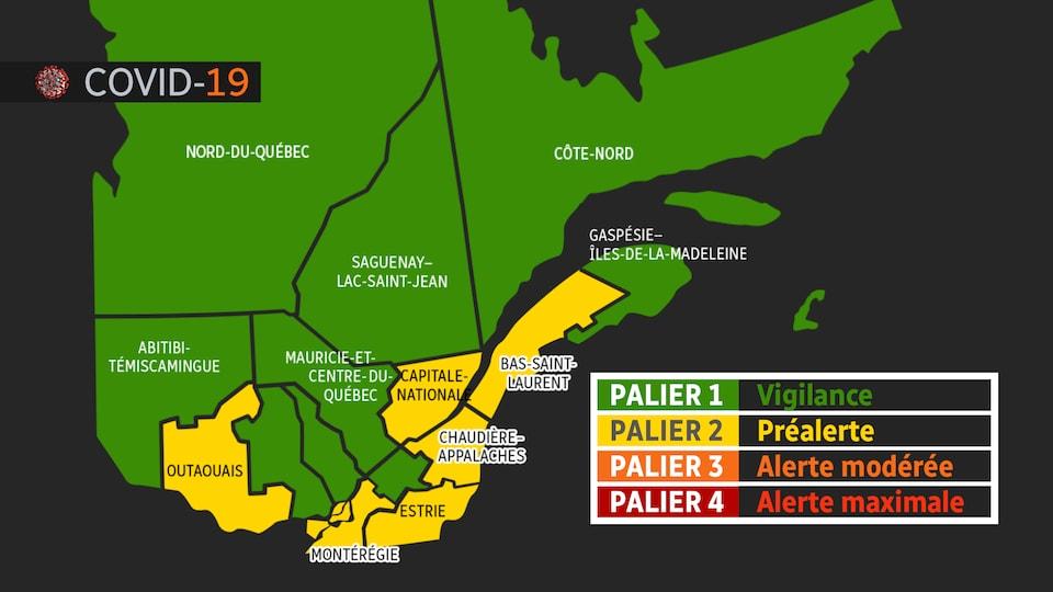 Carte des différentes régions du Québec avec leurs couleurs respectives.