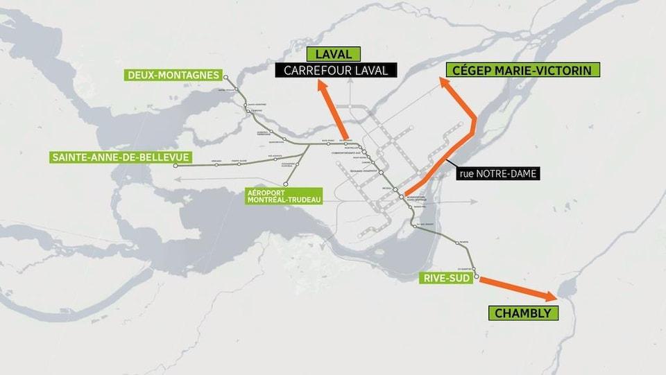Une carte du REM, auquel on a ajouté trois liens vers le nord, l'est et le sud,