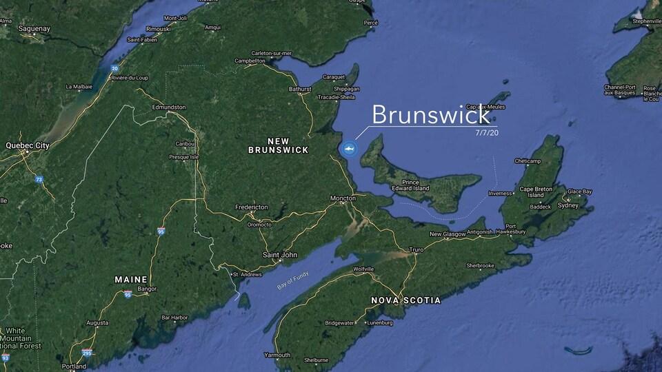 La position géographique de Brunswick dans les eaux entre le Nouveau-Brunswick et l'Île-du-Prince-Édouard au large du Comté de Kent est indiquée sur une carte.