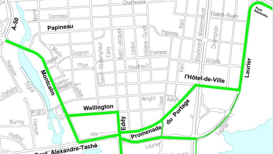 Carte montrant en surbrillance des rues qui seront fermées.