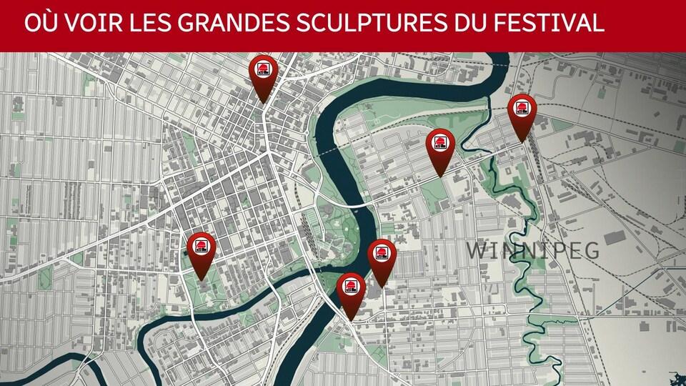 Carte anglobant le centre-ville de Winnipeg et le quartier de Saint-Boniface, avec des pointeurs sur les lieux des sculptures.