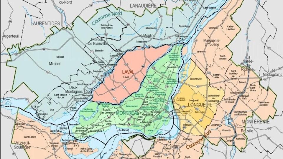 Une carte du secteur que comprend la CMM.