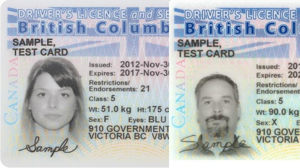 Les cartes d'identité d'une femme et d'un homme sont posées côte à côte.