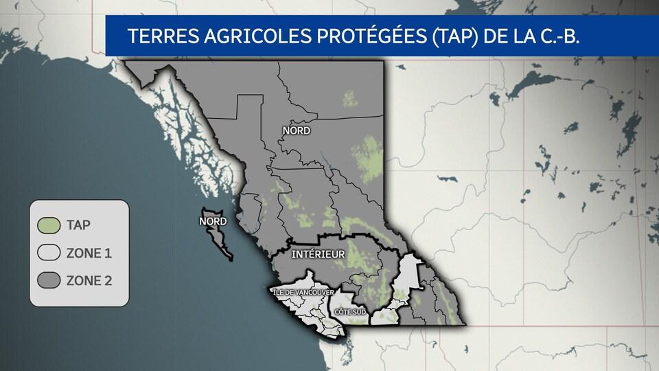 Une carte des terres agricoles protégées de la C.-B.