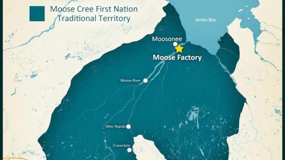 Une carte montrant une partie du nord de l'Ontario et du Québec et les frontières d'un territoire autochtone.