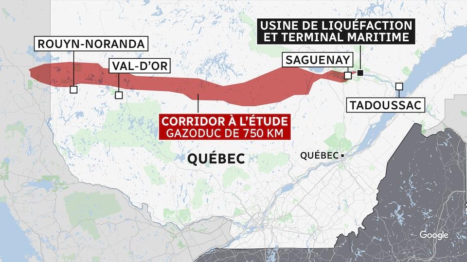 Carte illustrant un tracé partant de Rouyn-Noranda à Saguenay, où GNL Québec veut construire une usine de liquéfaction de gaz naturel et un terminal maritime.