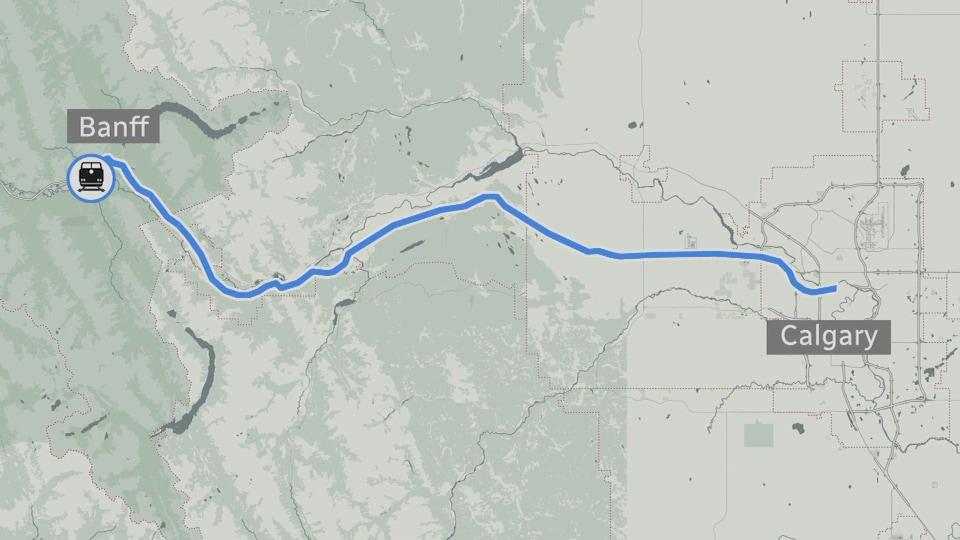 Une carte indiquant le trajet que prendrait le train entre Calgary et Banff.