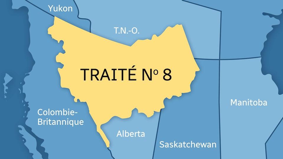 Le territoire couvert par le Traité no 8 regroupe le nord-ouest de la Saskatchewan, la moitié nord de l'Alberta, le nord-est de la Colombie-Britannique ainsi qu'une partie du sud des Territoires du Nord-Ouest.