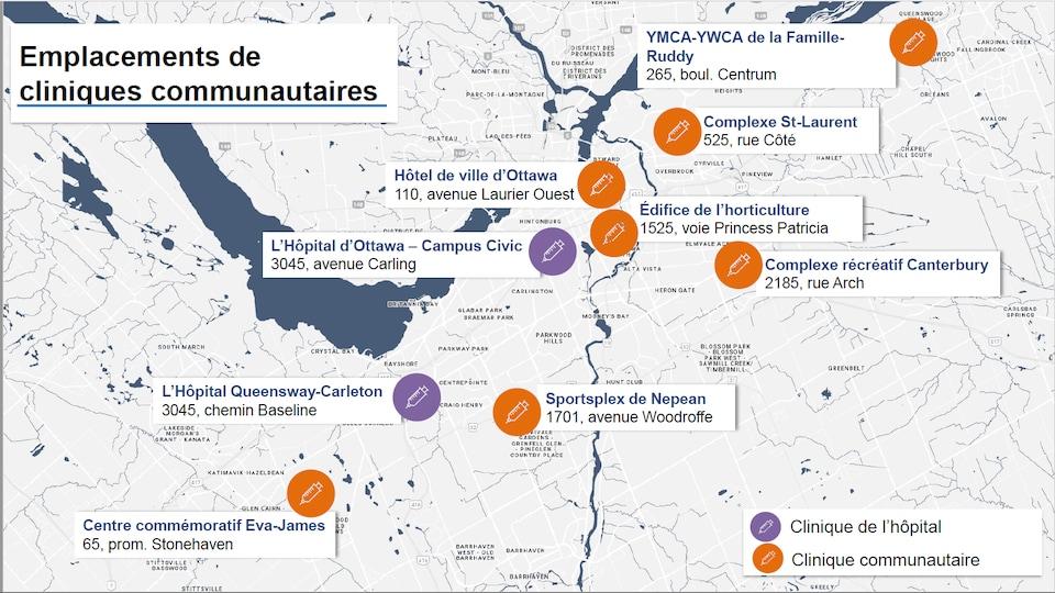 Une carte de la Ville d'Ottawa montre plusieurs emplacements ciblés.