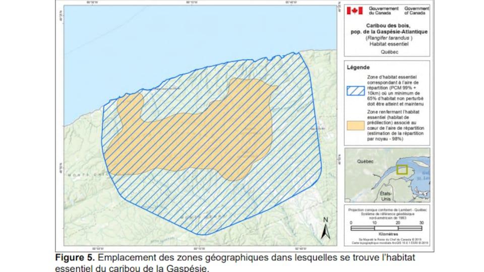 Carte des deux zones qui délimitent l'habitat essentiel partiel du caribou de la Gaspésie.